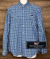 Vineyard Vines Men's Blue Plaid Long Sleeve Button Down Vented Harbor Shirt M