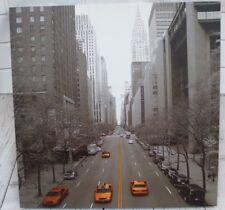 New York Canvas Black White Grey Orange Taxis Skyscraper Avenue 60 cm x 60 cm