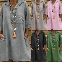 Plus Size S-5XL Womens V Neck Loose Casual Baggy Pocket Shirt Dress Summer Beach