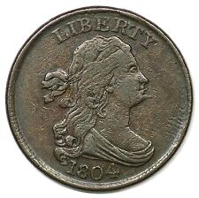 1804 C-6 R-2 LDS Spiked Chin Draped Bust Half Cent Coin 1/2c
