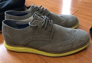 Skechers Mark Nason Mens Wing Tip Suede Shoes Grey Yellow Size 10.5 Lunargrand