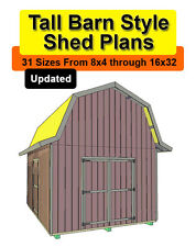 10x20 Tall Barn Style Shed Plans in 31 sizes from 8x4 to 16x32