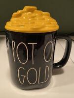 "NEW- RAE DUNN St Patricks Day LL ""POT O' GOLD"" Black Mug With Gold Coins Topper"