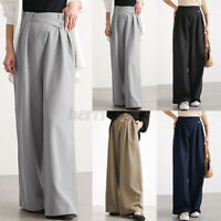 ZANZEA Womens Elastic Waist Wide Legged Trousers Casual Loose Baggy Chino Pants