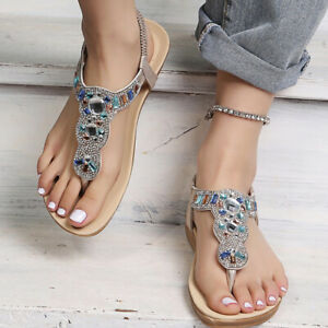 Fashion Womens Summer Thong Rhinestone Ankle Strap Flats Sandals Party Open Toe