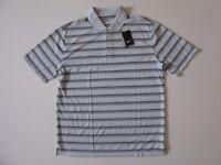 NWT Nike Golf Men's DRI-FIT Tech Vent Polo in Platinum Dark Grey Stripe Shirt L