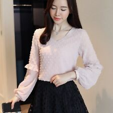 Women V-Neck Dot Chiffon Blouse Ruffle Lantern Long Sleeve Casual Shirt Tops