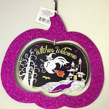 "Halloween 2 part Pumpkin Glitter ""Witches Welcome"" Sign Purple  Spooky House 12"""