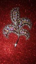 Antique Vintage  Big Leaf Emmons Aurora Rhinestone Brooch, Stunning