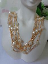 WOW! US AVON Multi Strand PEARL ESQUE ILLUSION Choker Necklace Jewelry Set '99