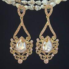 Rhodium Gold Plated Rhinestone G/Clear Crystal Rhinestone Shiny Drop Earring