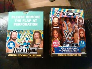 Topps WWE The Road To Wrestlemania OFFICIAL BOX Of Stickers + Collector Tin