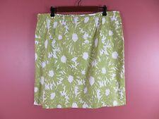 SK09258- TALBOTS Woman 97% Cotton Pencil Skirt Side Split Floral Stretch Sz 16