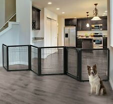 """New listing Richell Convertible Stand Pet Gate 6 Panels Black 31.5""""H upto 44 lbs Dog R94188"""
