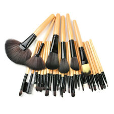 32pc Purple Professional Soft WOOD Cosmetic Eyebrow Shadow Makeup Brush Set NEW