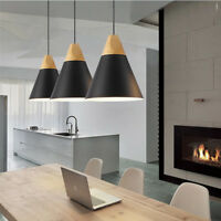 3X Wood Pendant Light Kitchen Ceiling Lights Black Pendant Lighting Bedroom Lamp