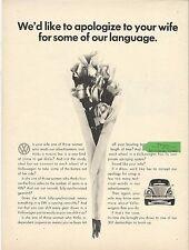 VOLKSWAGEN BEETLE 1200 original 1966 CANADIAN advert cutting 'apologize'