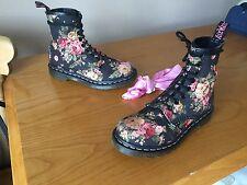 Dr Martens 1460 Negro Lona Victoriano Floral Botas Uk 3 EU 36 Piel Punk Goth
