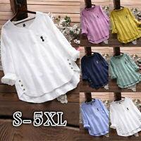 Women Vintage Cat Print Button V-Neck Long Sleeve Plus Size Shirt Top Blouse NA