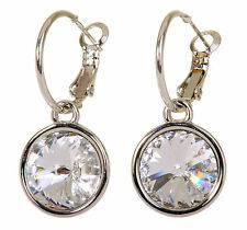 Swarovski Elements Crystal Harley Pierced Earrings Rhodium Plated 7166y