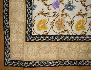 "Mediterranean Floral Tapestry Cotton Bedspread 106"" x 88"" Full-Queen Tan"