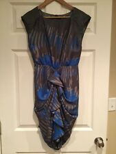 Eva Franco Anthropologie Gray & Blue Splatter Print Dress, Size 4