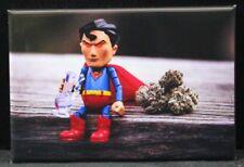 Superman and Kryptonite Kush 2 x 3 Fridge Magnet. Toy Photography Weed Marijuana