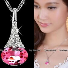 Oval Diamond Rose Quartz Pink Gemstone Silver Jewellery Xmas Gifts for Women F6