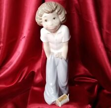 "Zaphir porcelain Boy Kicking Can Jose Puche 11-3/8"" figurine statue Lladro Spain"