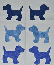 SET of 6 BLUE CALICO DOGS IRON ON/DIE CUT