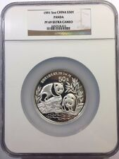 China 1991 5 oz 50Yuan Silver Proof Panda - NGC PF69UC #2652518-013