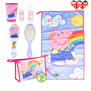 Official Peppa Pig Filled Travel Toiletry Bag;Hair Brush- Hand Towel-Cup....