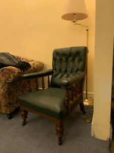 Victorian Green Leather Club Chair