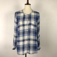 Joie Women Sz S Button Down Top Shirt Silk Plaid Semi Sheer Pocket Lightweight
