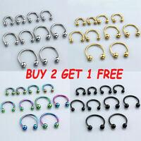 Fashion 16G Horseshoe Circular Barbell Bar Ear Nose Lip Septum Captive Hoop Ring