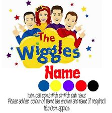 Iron on Transfer PERSONALISED WIGGLES LOGO #6 LACHY EMMA SIMON ANTHONY 16X10CM