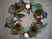 Decorated Holiday Grapevine Door Wreath with Beaded Fruit, Glittered Flowers