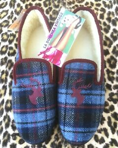 FRENCH MEN CHARENTAISE SLIPPERS~BLUE PLAID~DEER EMBROIDERY~WOOL LINING~NEW~10.5