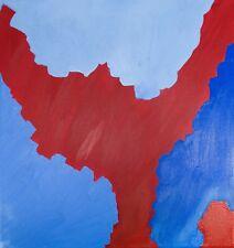 Arte Abstracto Sobre Lienzo Oleo Moderno Original Enmarcado, Rojo Azul Profundo rocas