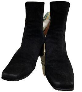 Stuart Weitzman Ankle Boots Suede Square Toe Heel Black Women's 10B