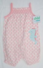 CARTER'S Child Of Mine Infant Girls White Sea Horse One Piece Romper 6-9M - NEW