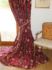 """WILLIAM MORRIS CURTAINS Embroidered SILK Interlined MARY ISOBEL Ea 51""""W 100""""D"""
