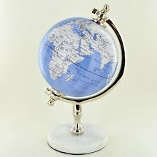 """Globe in Light Blue 5"""" with Marble Base Luxury Unique Home Decor Small 11366"""