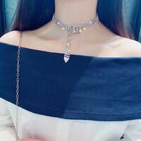 Fashion Pearl Rhinestone Crystal Chain Pendant Clavicle Necklace Women Jewelry
