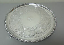 "19th C. ENGLISH OLD SHEFFIELD PLATE (OSP) SILVER PLATE 14"" FOOTED, ENGRAVED TRAY"