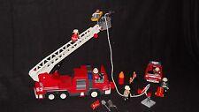 Retired Playmobil lot, Lg fire Truck, Flashing Lights, Fireman, Hose, plus car