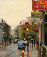 Rainy street Scene Giclee Art Oil painting printed on canvas L222