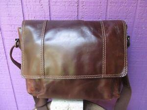 Fossil Commuter Brown Leather Messenger Bag MBG1243 Unisex