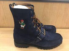 Polo Ralph Lauren Ranger Teddy Bear Logo Navy Suede Boots Mens Size 9 New