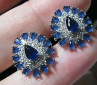 Beautiful Sterling SILVER Lab Blue Sapphire & Topaz Gem Stone EARRINGS